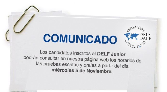 comunicado DELF JUNIOR